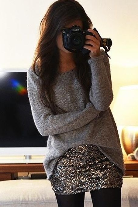 Glam casual/date night: Gray sweater, sequin skirt, opaque black tights #inspiration
