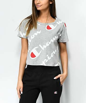 6e8185a04 Champion All Over Script Heather Grey Crop T-Shirt in 2019 | clothes ...