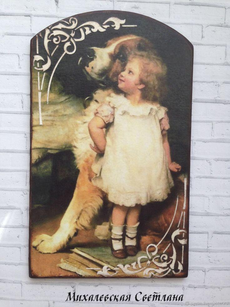 Купить деревянная разделочная доска на кухню Год собаки декупаж в интернет магазине на Ярмарке Мастеров