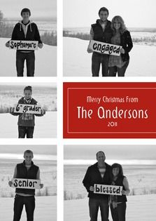 Christmas Card saying what's goin on in everyones life in just a word or two...awesome