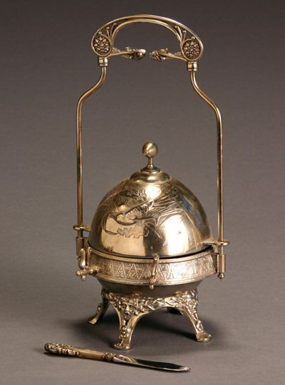 victorian butter dish | 209: Victorian Silver Plate Butter Dish and Sterling Ha