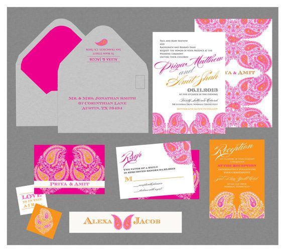Indian Wedding Invitation Calcutta Motif by InvitationShop on Etsy, $1.20