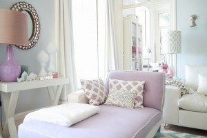 Modern white gray purple lilac living