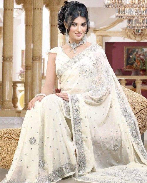beautiful off white saree