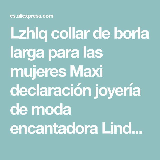 95869fab391b Lzhlq collar de borla larga para las mujeres Maxi declaración joyería de  moda encantadora Linda negro rojo blanco collar Boho collar en la v…