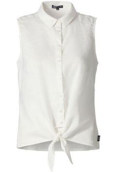 Mouwloze blouse met knoop Ecru