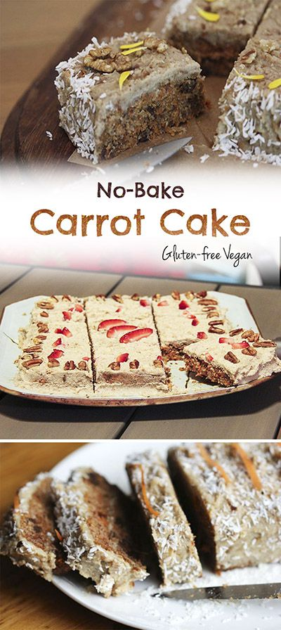 No bake carrot cake. It's gluten-free, super easy, delicious and totally plant-based! I've been making this one for years and everyone LOVES it!