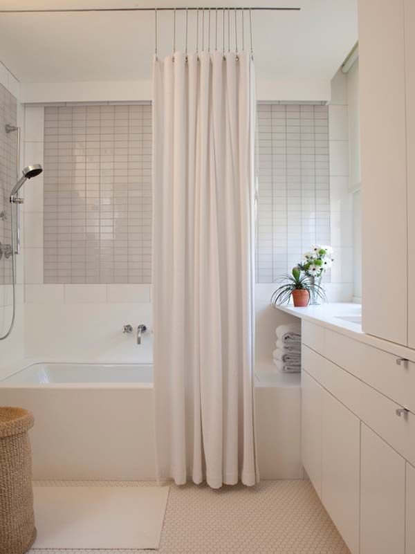 White Curtain | Simple Bathroom | White Decor | Shower Curtain | Bath Accessories