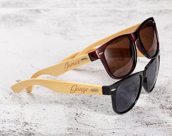 Name And Picture Engraved On Wooden Box And Wooden Frame Wooden Sunglasses For The Groomsmen With Beautiful Wooden Box Attached