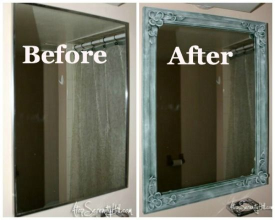 Framing A Bathroom Mirror Before And After best 25+ mirror makeover ideas on pinterest | framed mirrors