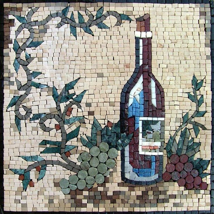Bring color and dimension to your indoor and outdoor decorative tile projects with the Bottiglie di vino ( Wine Bottle) mosaic. Showcasing a dimensional green and purple grames against a gray/ivory background, this accent mosaic makes an ideal mosaic kitchen backsplash. Tailor our mosaic patterns to your style with a choice of tile colors! Mosaic Uses: Floors, Walls or Tabletops both Indoor or Outdoor as well as wet places such as showers and Pools., Get it now for $204.