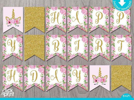 Unicorn Printable Birthday Banner, Printable Girl Birthday ...