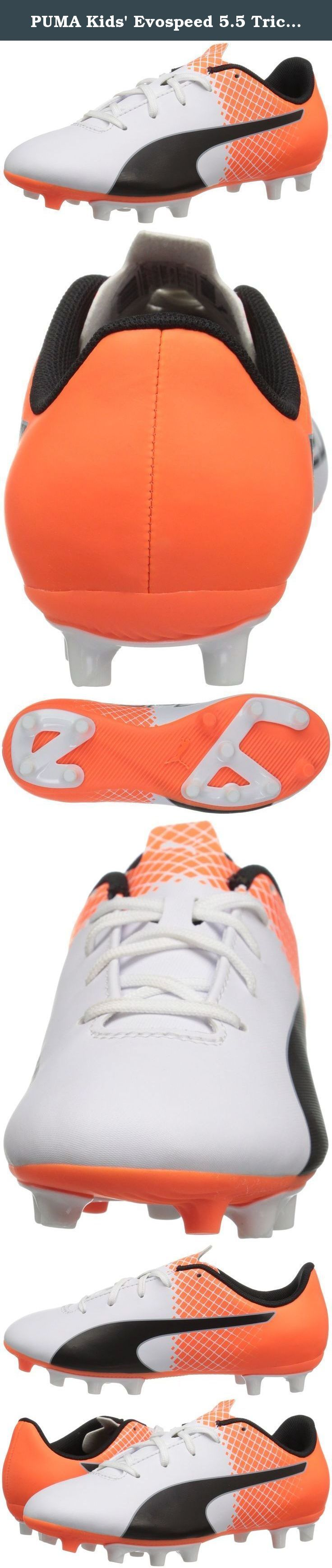 PUMA Kids' Evospeed 5.5 Tricks FG JR Soccer Shoe, Puma White/Puma Black, 5 M US Big Kid. The evospeed 5.5 tricks Jr is an entry price level junior football boot that combines comfort and durability with a fresh design. The soft yet durable synthetic leather, the improved anatomic fit and the central lacing all add to the comfort of this low maintenance and durable boot. The tricks execution guarantees for maximized on-pitch visibility.
