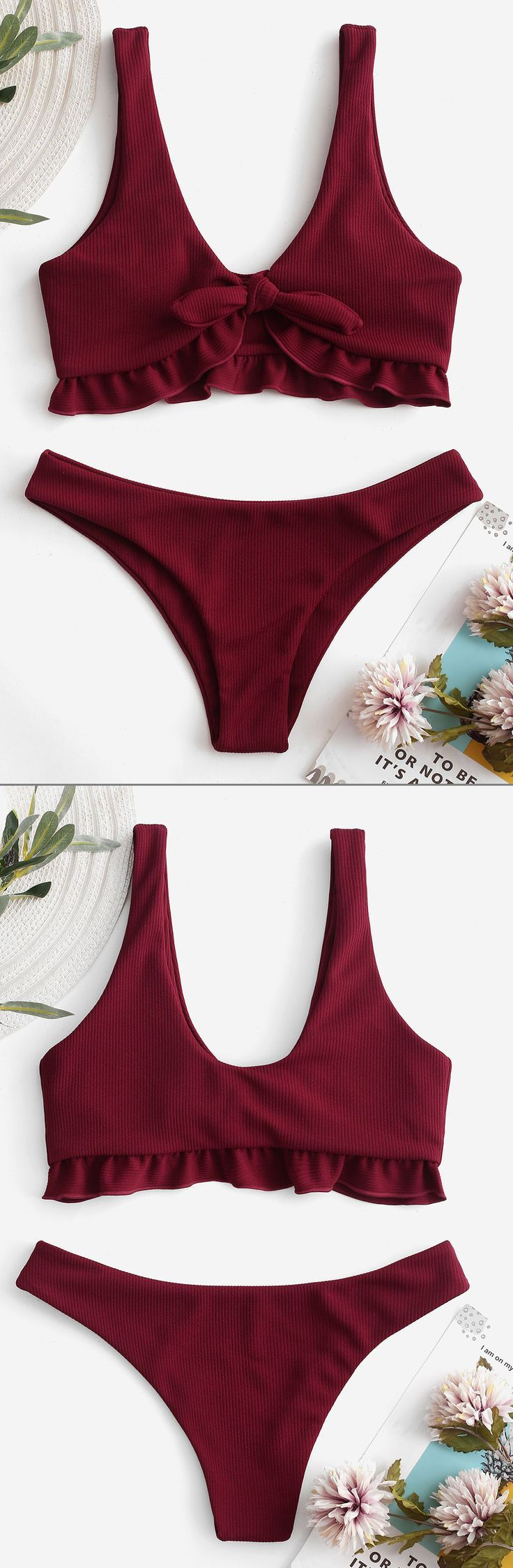 Bikini-Badeanzug mit gerippten Rüschen – #bestswimsuitsforsmallchests #Bikini #bikin …