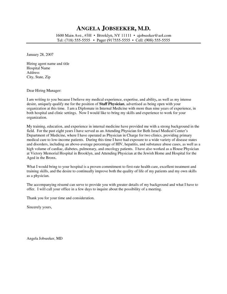 Cover Letter Template Physician Cover letter for resume
