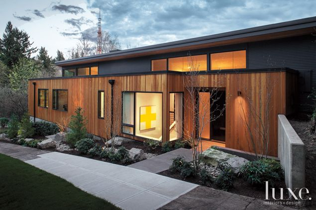 Cedar siding from Lakeside Lumber lends a sense of verticality to the exterior of this Portland house.  See more: http://luxeworthy.luxesource.com/slideshow/213/inside-one-couples-1950s-hillside-portland-ho/5
