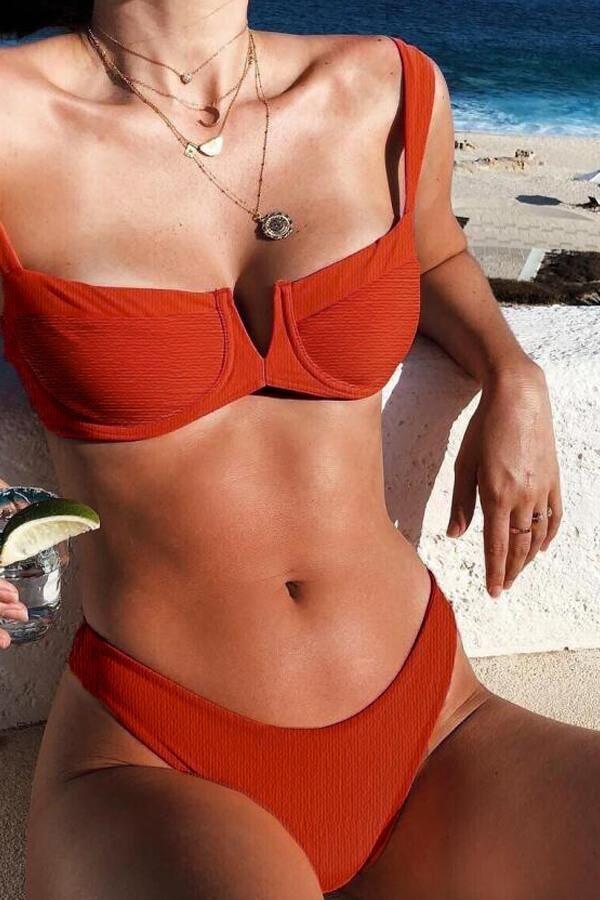 32c1593b07eae Floralkini Crinkle V-Neck High Leg Bikini Set | Bikini | Beachwear ...