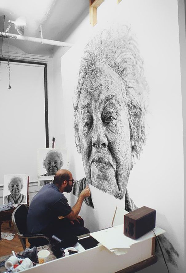 Portrait Made of Thousands of Fingerprints (More about this from Bored Panda at http://www.boredpanda.com/fanny-finger-painting-chuck-close/)Ugg Boots, Fingers Painting, Fashion Style, The Artists, Chuck Close, Canvas, Fingerprints Art, Portraits, Fingerpaint