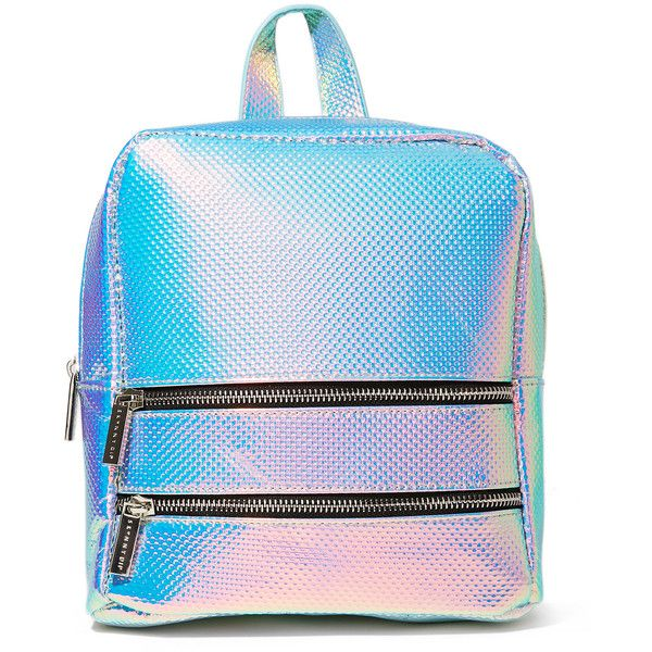 Skinnydip Iridescent Molly Backpack found on Polyvore featuring bags, backpacks, backpack, blue bag, backpack bags, rucksack bags, iridescent backpack and knapsack bag