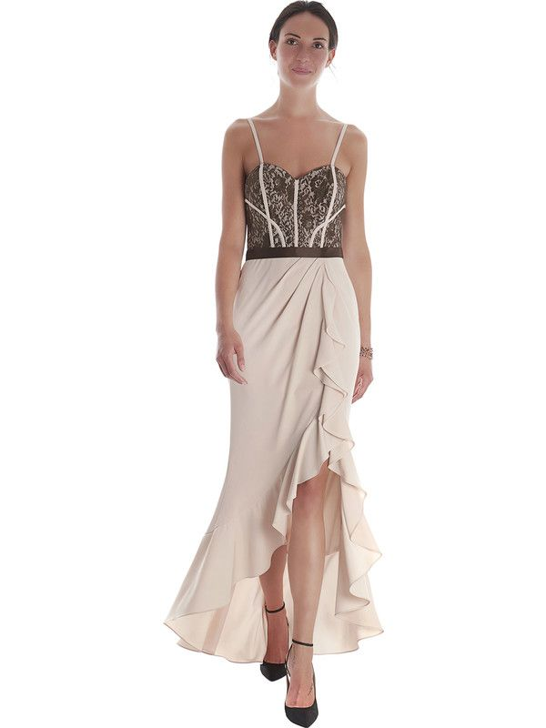 Wedding long powder pink dress by Pastore Couture with laced bodice