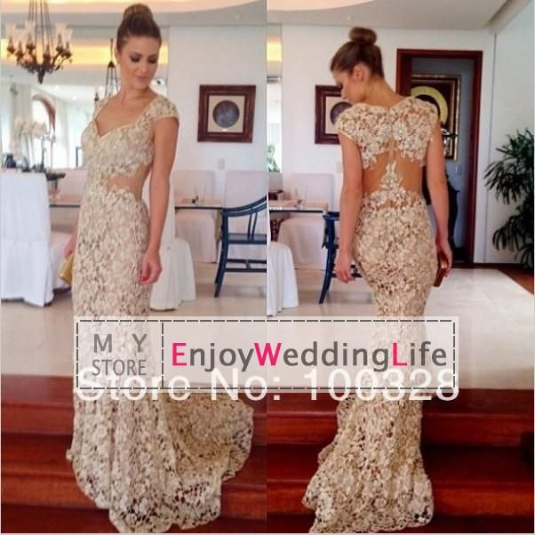 2014 Sexy New Sheer Cap Sleeves Lace Evening Dresses Mermaid Beaded Prom Gowns Petite Evening Dresses Red Evening Dress From Enjoyweddinglife, $119.31| Dhgate.Com