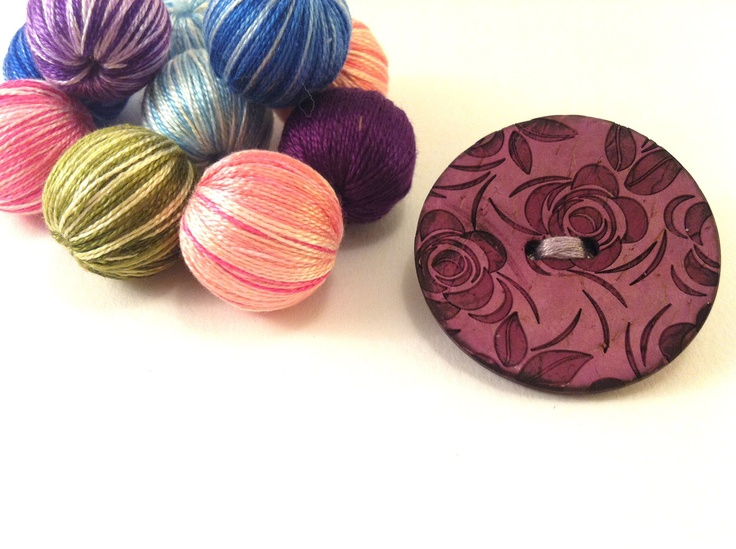 Purple wooden button brooch with roses by Mariabuttons on Etsy