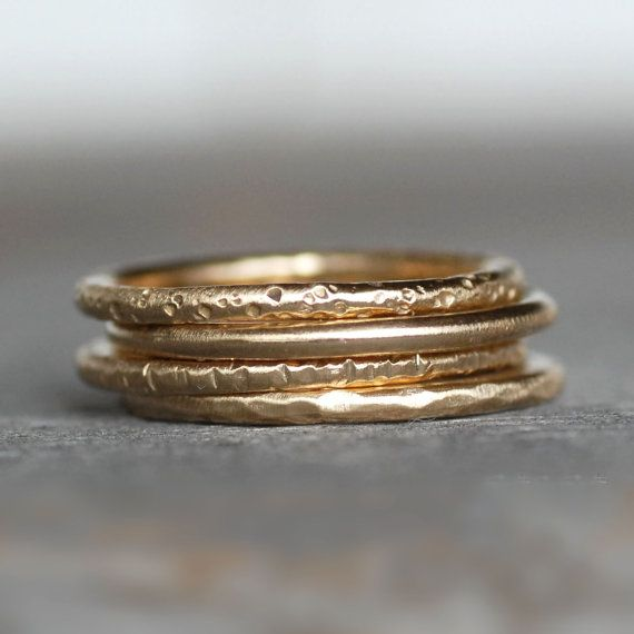 18k Gold Wedding Ring  Textured Gold Band  by LilianGinebra