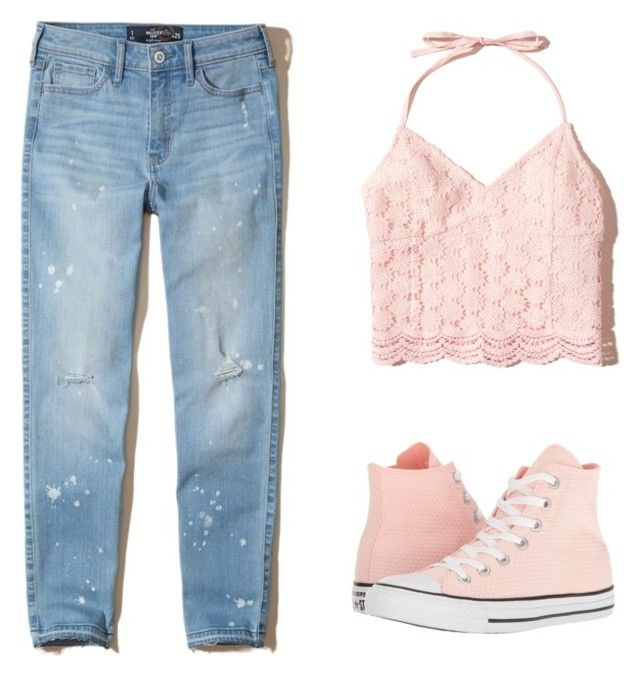 """Casually Girly"" by californianstyleflower ❤ liked on Polyvore featuring Hollister Co. and Converse"