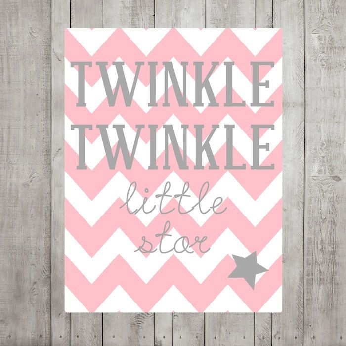 Nursery Wall Decor- Kids Wall Prints- Twinkle Twinkle Little Star- Pink Gray Nursery Decor- Chevron- Choose Your Colors 8x10 Print. $15.00, via Etsy.