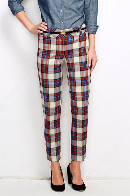 Women's Fit 2 Twill Tartan Slim Leg Pants from Lands' End | Just got these in the post. Totally adorable. Wearing tomorrow with a sand-colored suit jacket from Banana Republic, a red peplum top, and some bright blue skimmers. Hey, it's almost #Christmas ...