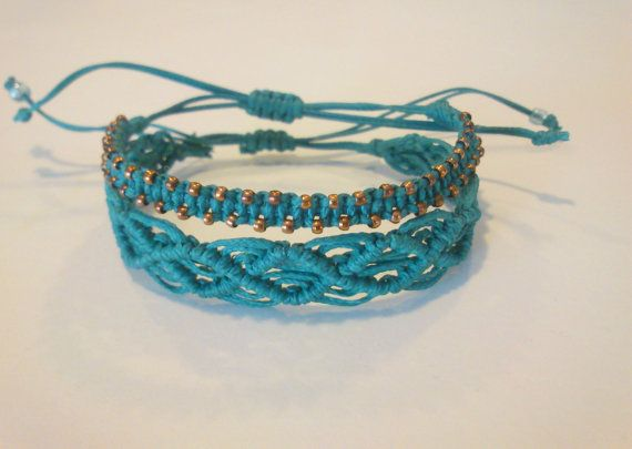 turquoise macrame bracelet/ waxed cord by KleopatrasCreations