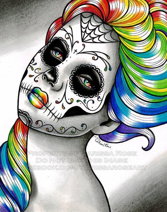 5x7, 8x10, or 11x14 Art Print - Dia De Los Muertos Spectrum Series Rainbow Sugar Skull Girl