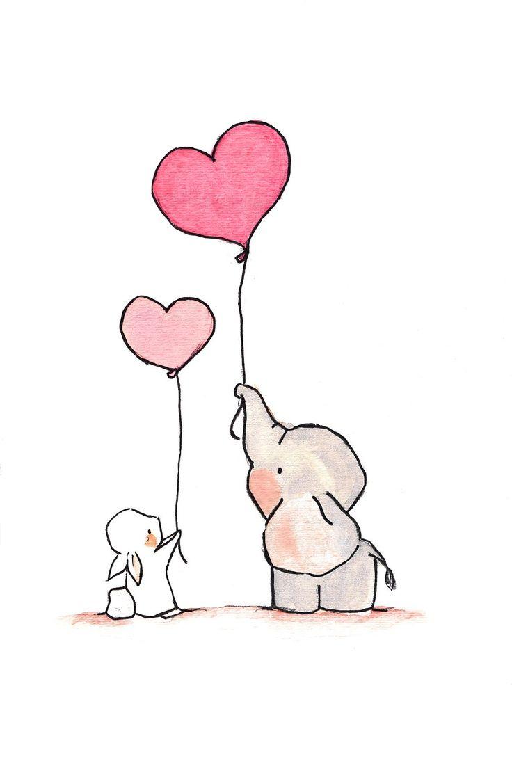 Elephant & bunny | Fliegende Herzen 8 x 10 Archivierung drucken Baby Kinderzimmer drucken, Childrens Kunstdruck, Kinder Zimmer Dekor, Kinder Wandkunst, Kind-Dekor, Baby Kunst. 15.00 Uhr, über Etsy. 13481