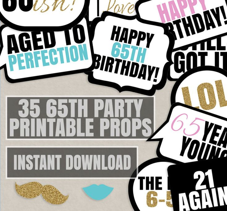 35 65th Birthday photo booth printable props, sixty fifth party, black white, sixty five years old photobooth props birthday party, 65 years by YouGrewPrintables on Etsy