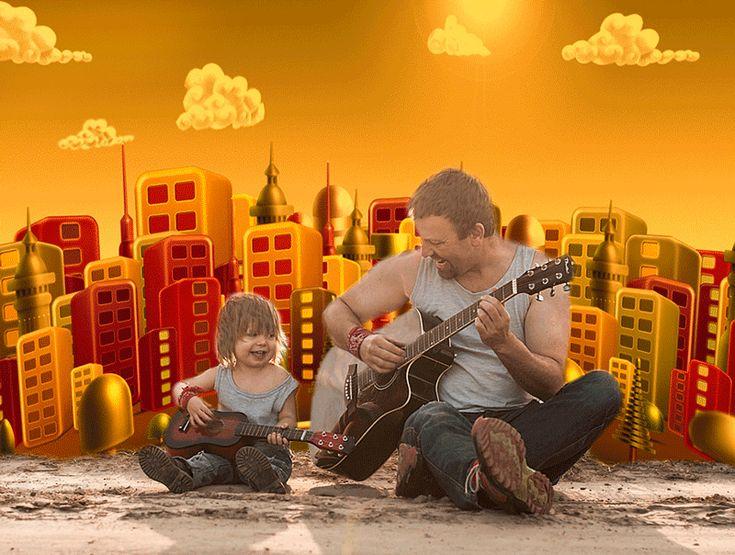 Ψυχαγωγία Στο φόντο της φανταστική πόλη φωτίζεται από τον ήλιο, ένας άνδρας με ένα παιδί να κάθεται και να παίζει κιθάρα, SIFCO Στο πλαίσιο της φανταστική πόλη φωτίζεται από τον ήλιο, ένας άνδρας με ένα παιδί κάθεται και να παίζει κιθάρα