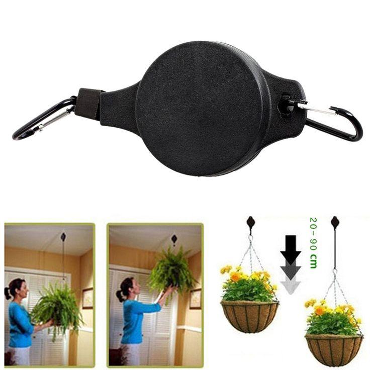 Retractable Riemenscheibe Hängenden Korb Pull Down Aufhänger zu 20 cm-90 cm Garten Körbe Topf aufhänger last max gewicht 15 kg