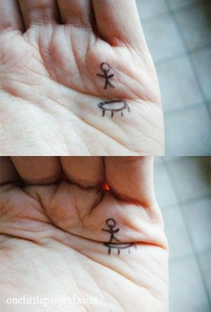 "Cute hand ""tattoo"" - Jumping stick man on a trampoline - love this! 