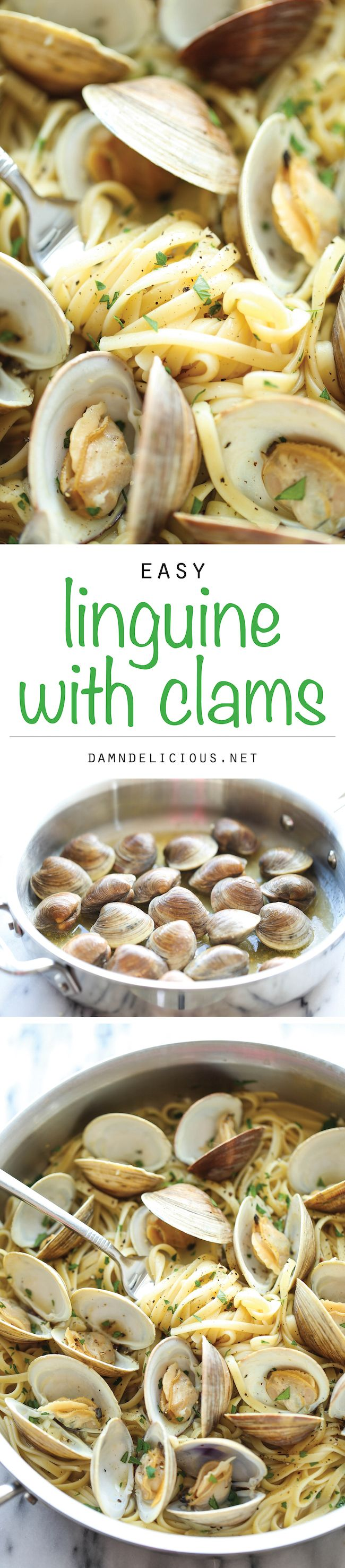 Easy Linguine with Clams - The easiest, budget-friendly pasta you will ever make, and it'll be on your dinner table in just 15 min. It's just THAT easy!