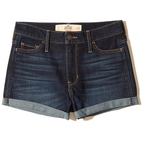 Hollister High-Rise Denim Short-Shorts ($40) ❤ liked on Polyvore featuring shorts, dark wash, denim hot pants, hot shorts, high-rise shorts, high waisted short shorts and micro shorts