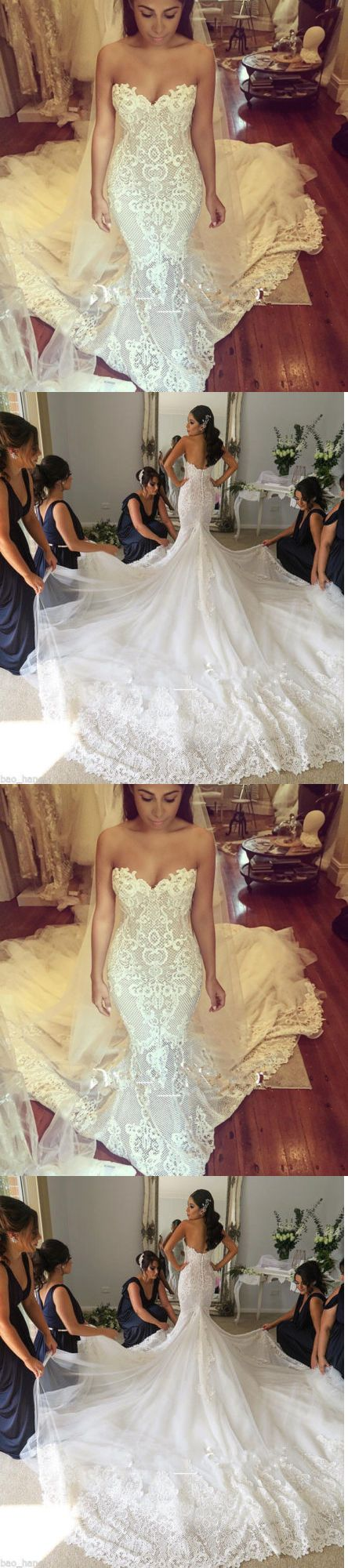 Wedding Dresses: New Mermaid Lace Wedding Dress Long Bridal Gown Custom 4 6 8 10 12 14 16 18+++++ -> BUY IT NOW ONLY: $126.8 on eBay!