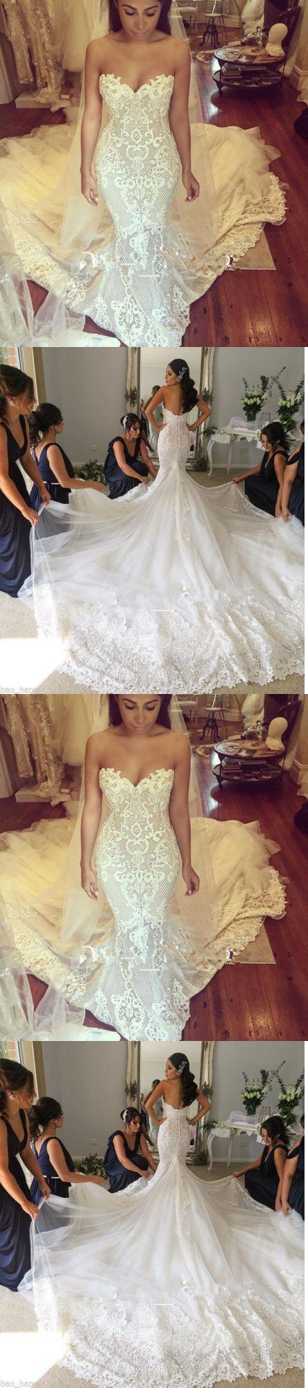 Wedding Dresses: New Mermaid Lace Wedding Dress Long Bridal Gown Custom 4 6 8 10 12 14 16 18+++++ -> BUY IT NOW ONLY: $126.8 on eBay!