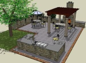 patio layout with outdoor kitchen area..would do small covered pergola on top of bar area as well by debbie