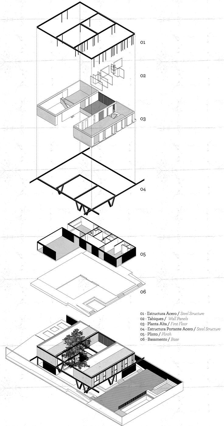 Exploded axonometric of House LG by Gregorio Brugnoli Errázuriz