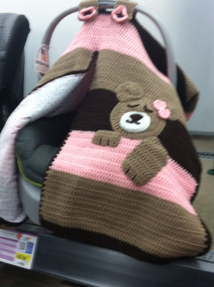 Crochet Car Seat Cover Sleeping Bear