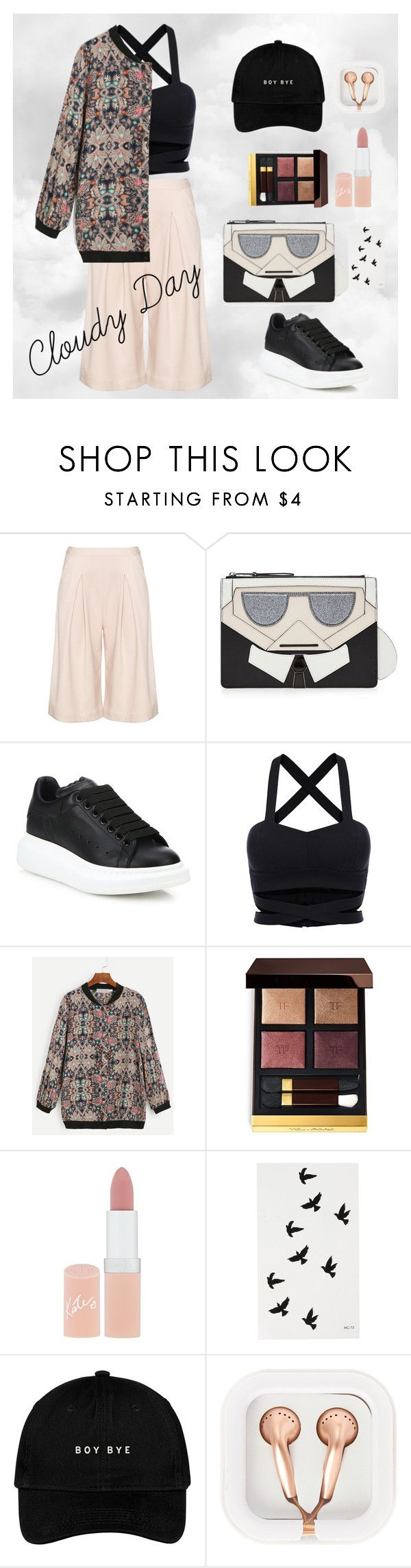 Cloudy Day Outfit by ghiocelalexandra on Polyvore featuring Manon Baptiste, Alexander McQueen, Karl Lagerfeld, claire's, Rimmel and Tom Ford