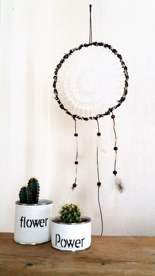 Diy dreamcatcher and flower pots from old tin cans