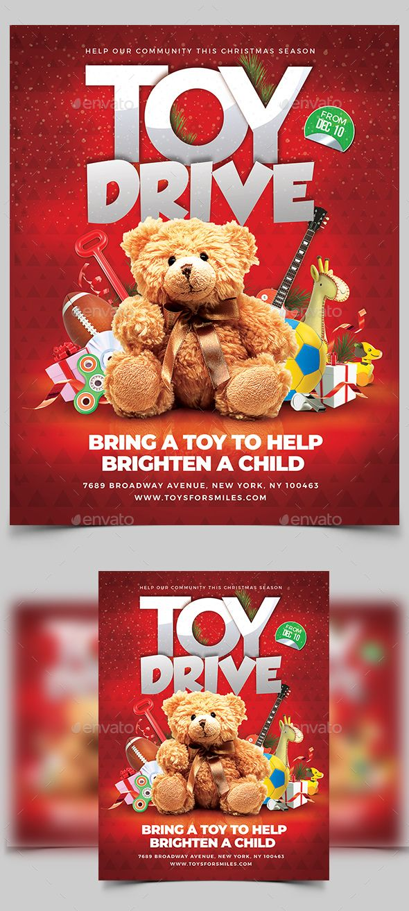 This Christmas Toy Drive Flyer Template Is Very Modern Psd Flyer