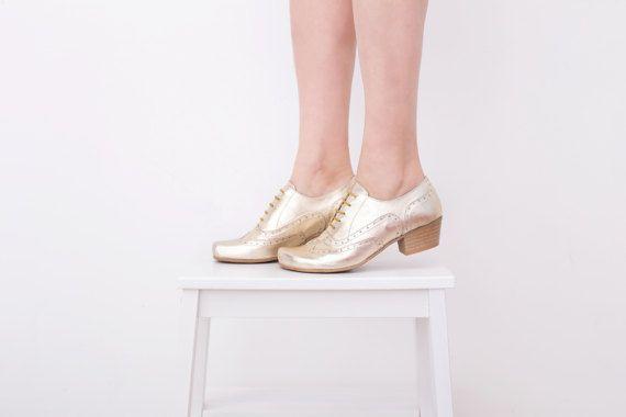 Gouden schoenen, vrouwen Oxford hakken schoenen brede lederen handgemaakte Brogues adikilav