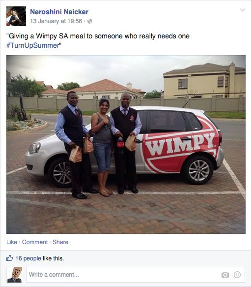 Neroshini giving out a few Wimpy meals to these two guys, who she thought really needed it #TurnUpSummer