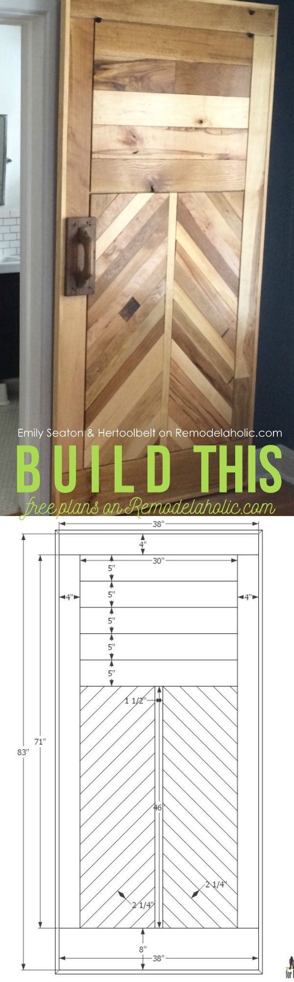 Free Reclaimed Wood Chevron Barn Door Building Plan and Tutorial on @Remodelaholic